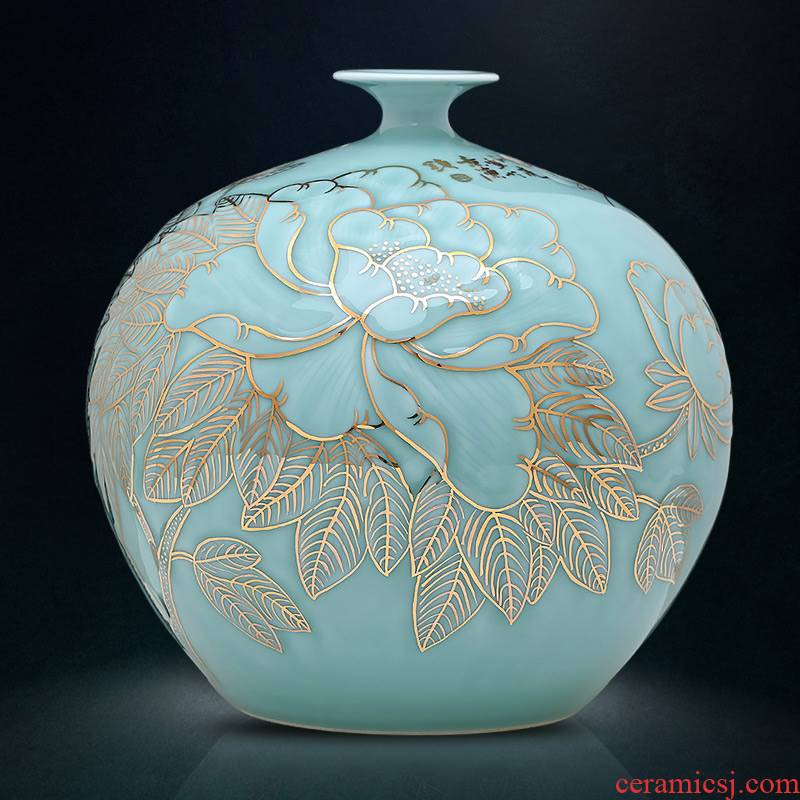 The Master of jingdezhen ceramics vase hand - made green glair see pomegranate bottle of large Chinese style furnishing articles sitting room adornment