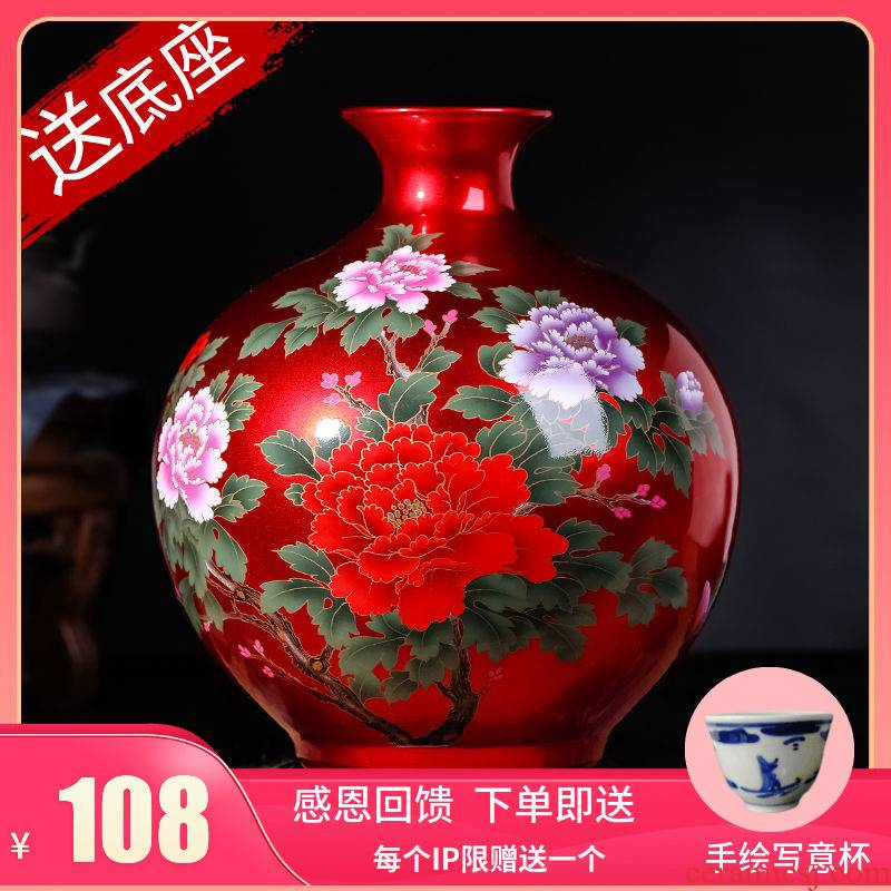 Jingdezhen ceramics China red vase continental sitting room place China flower adornment creative home to restore ancient ways