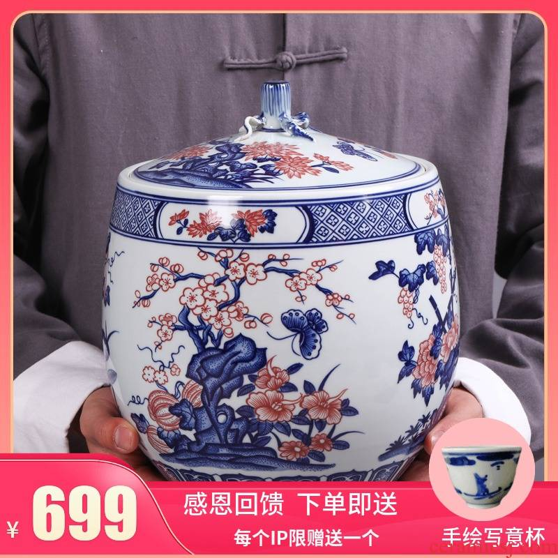 Jingdezhen ceramic household seal tank storage POTS puer tea cake tea pot large storage jar porcelain