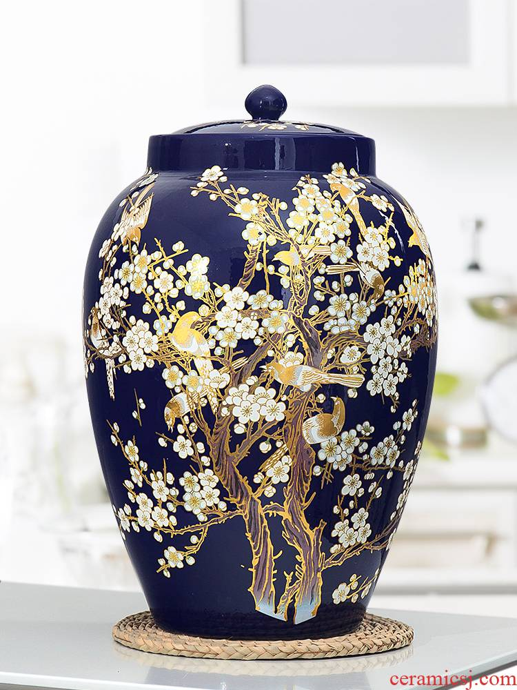 Jingdezhen ceramic barrel ricer box meter box storage 20/30/50 kg sealed with cover storage tank household moistureproof insect - resistant