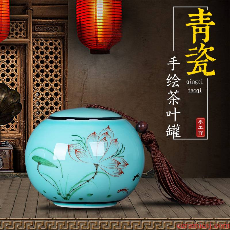 Chinese hand - made ceramic tea pot lotus jingdezhen celadon portable household seal pot moistureproof half jins to trumpet