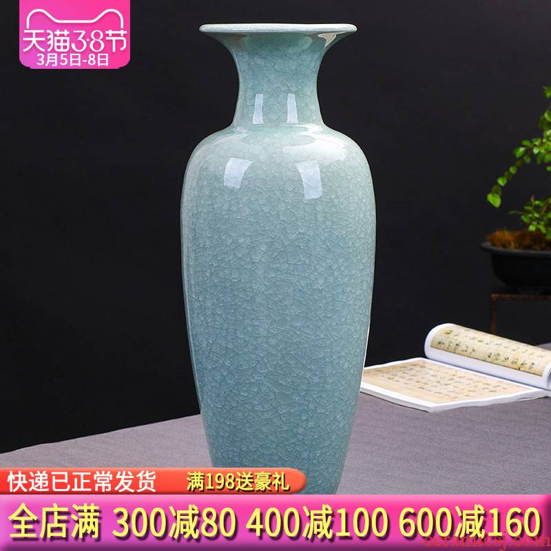 Jingdezhen ceramics antique jun porcelain glaze cracks of large vases, and Chinese style porch place gifts