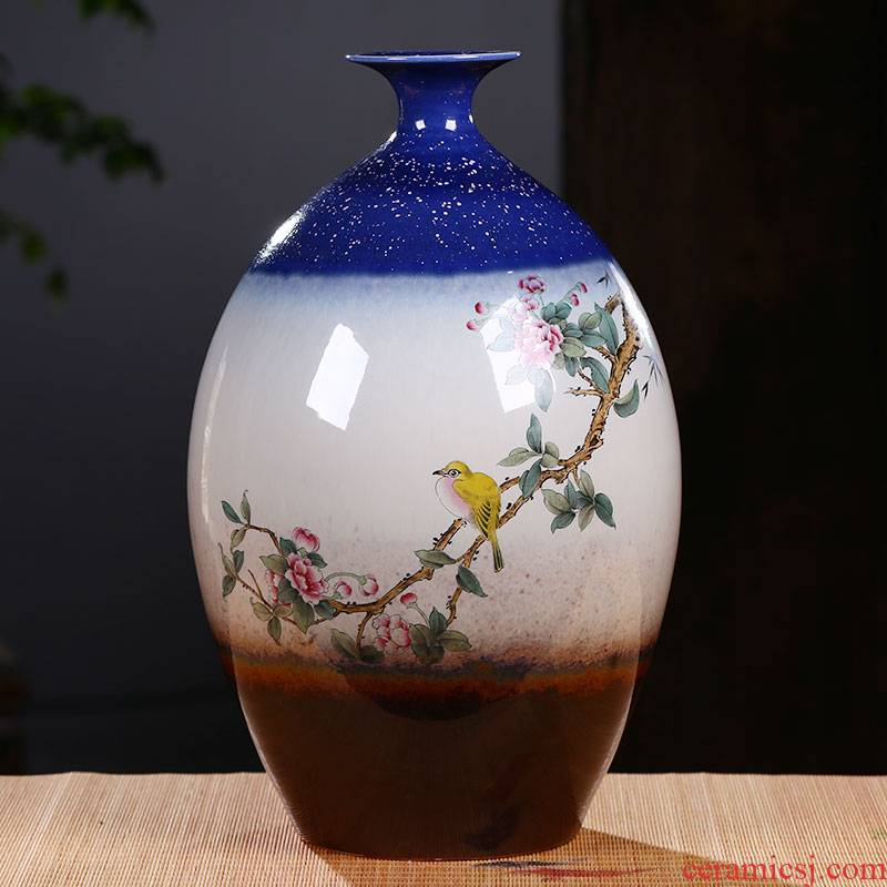 Jingdezhen ceramic hand - made vases furnishing articles of the new Chinese style household TV ark, wine porch flower arranging flower decorations