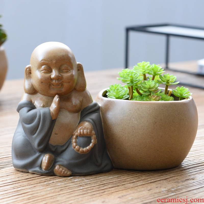 Fleshy ceramic flower POTS potted flower implement creative move potted place maitreya buddhist fancy, green asparagus and old basin