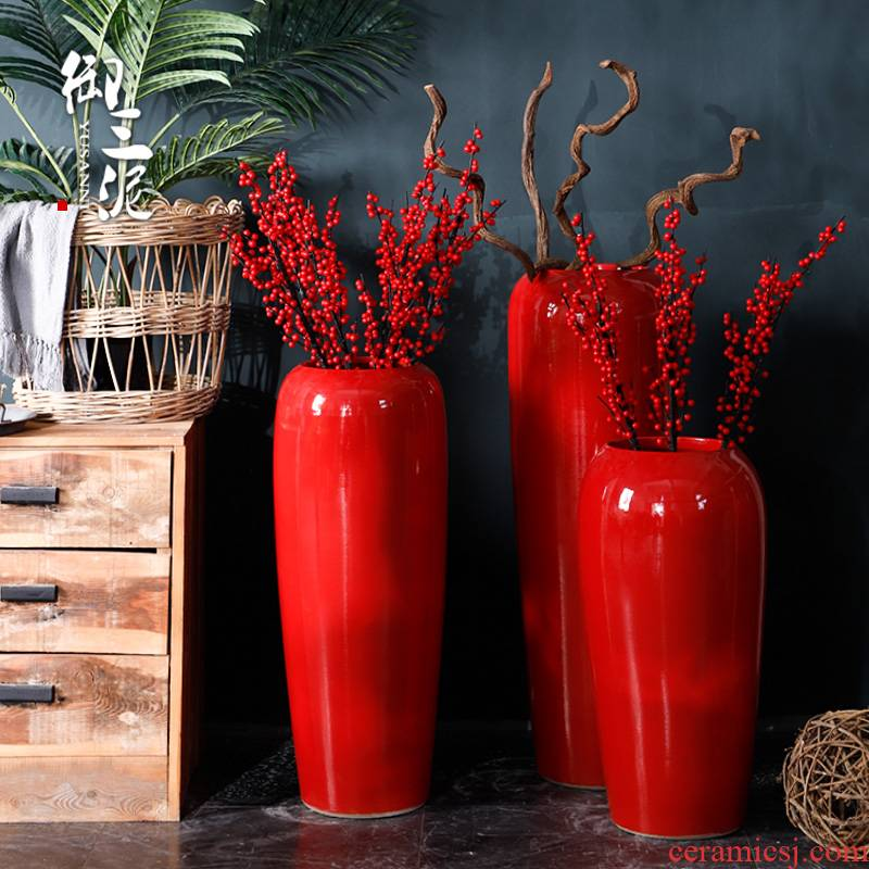 Red Chinese jingdezhen ceramics creative household plug-in artificial flowers dried flower adornment of I sitting room place ground vase