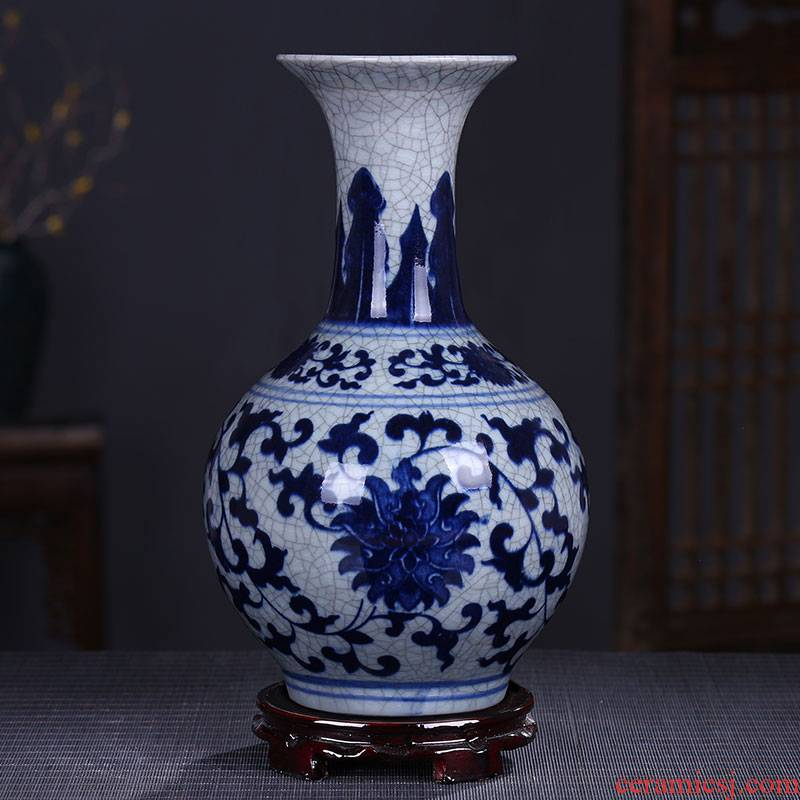 Archaize of jingdezhen ceramics up crack glaze glaze vase vase of porcelain of modern Chinese style home sitting room place