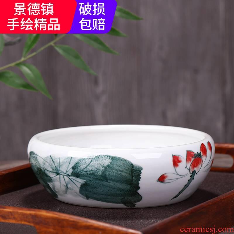 Jingdezhen ceramic aquarium tank tortoise raise a goldfish bowl bowl lotus cylinder cylinder water lily lotus sitting room place