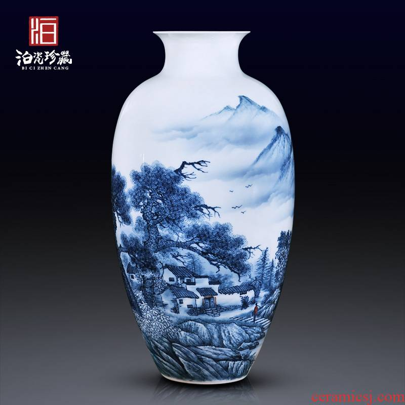 Jingdezhen ceramics hand - made dried flowers large blue and white porcelain vase of new Chinese style porch decoration crafts are sitting room