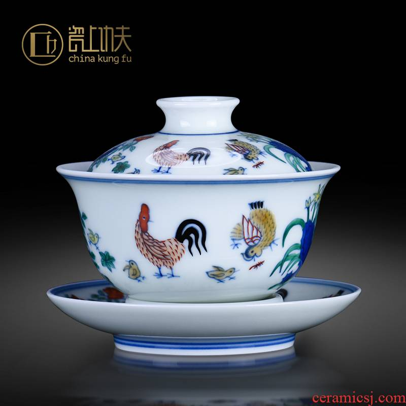 Jingdezhen ceramics tureen large cups da Ming chenghua chicken color bucket cylinder cup three - color bowl of antique hand - made tea set