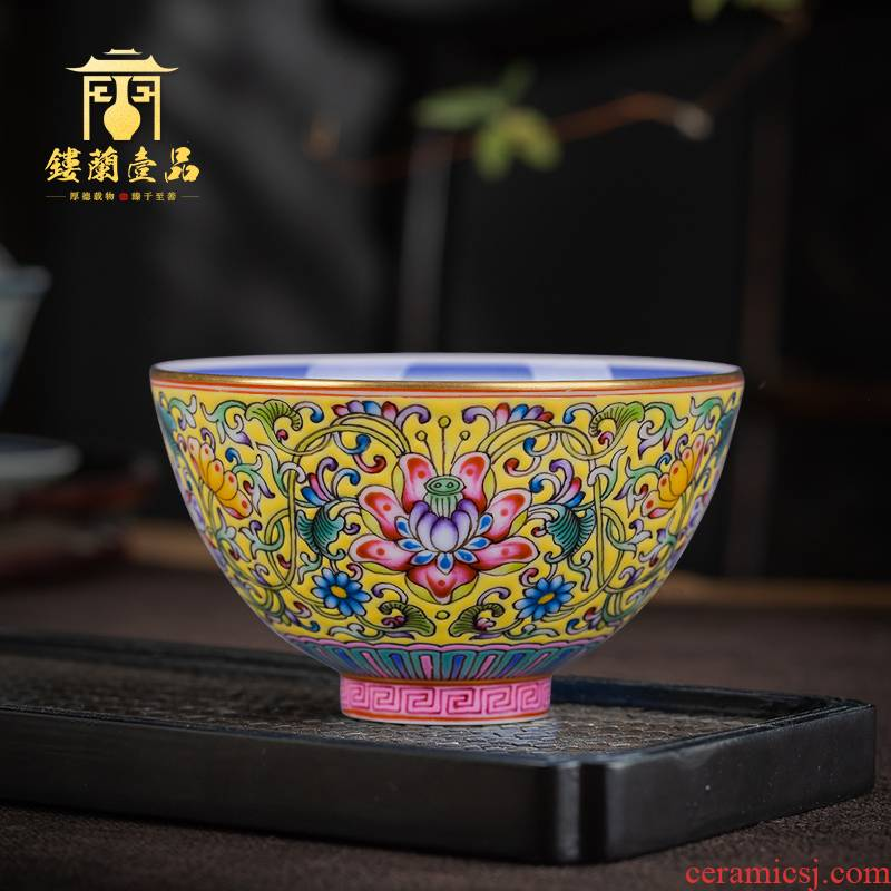 Jingdezhen ceramic hand - made flowers, yellow to blue treasure within the colored enamel phase master cup single CPU kung fu tea sample tea cup