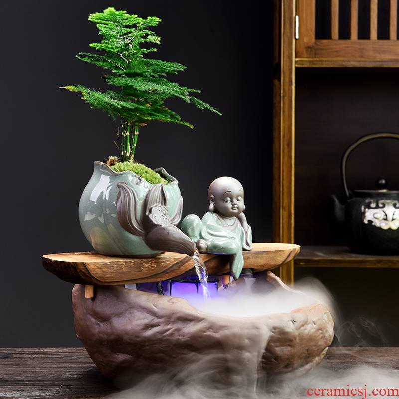New Chinese style water flower implement creative zen home desktop furnishing articles large Chinese wind miniascape ceramic hydroponic flower pot