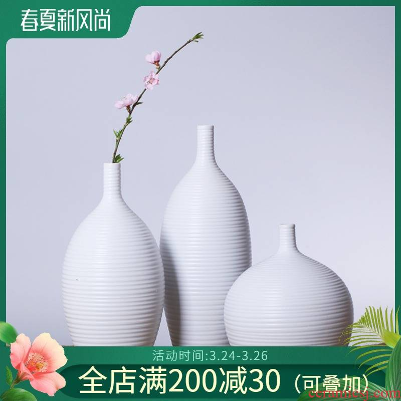 Jingdezhen ceramic table of I and contracted white vase sitting room home decoration dry flower flower flower implement furnishing articles