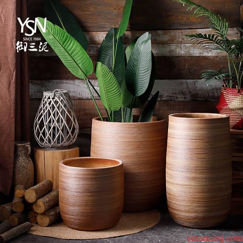 Furnishing articles sitting room big villa garden flowerpot Nordic modern ceramic vase landing of large diameter dried flower simulation flowers
