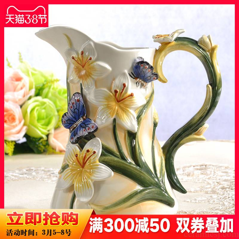 Recent European rural creative ceramic vase furnishing articles sitting room TV cabinet dry flower vase household ornaments
