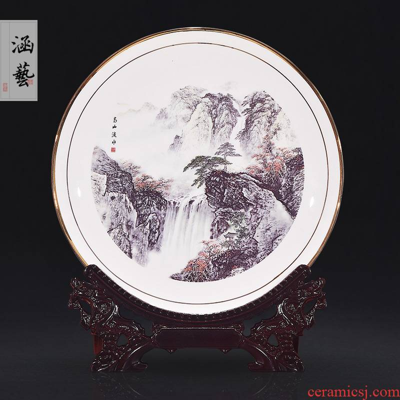 Jingdezhen ceramic famille rose picked adornment hang dish sit plate of Chinese style household, sitting room porch handicraft furnishing articles