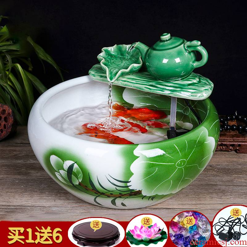 Jingdezhen ceramic aquarium water fountain in the sitting room of small creative goldfish bowl fish bowl furnishing articles sitting room adornment