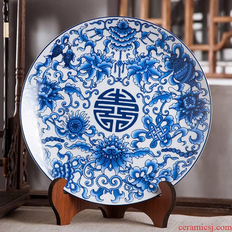 Jingdezhen ceramics furnishing articles hang dish Chinese handicraft wine stays home decoration decoration plate