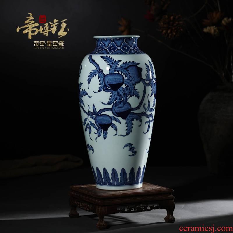 Jingdezhen ceramic vases, antique porcelain hand - made porcelain youligong nine peach mesa of idea gourd bottle vase