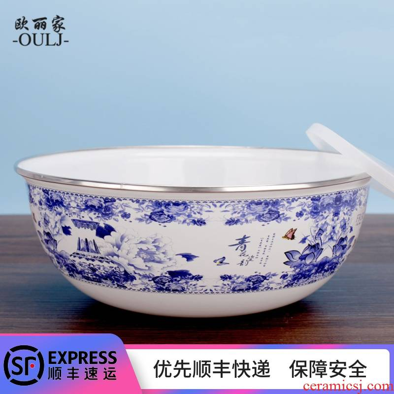 Enamel Enamel porcelain porcelain preservation bowl bowl with cover Enamel soup bowl mercifully rainbow such as to use the refrigerator to use of Enamel preservation bowl