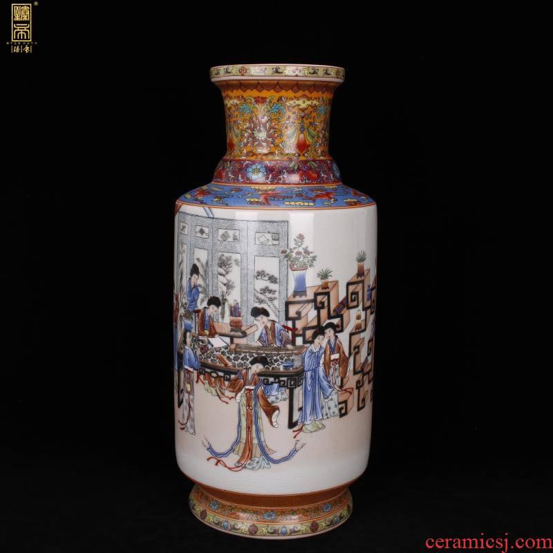 Jingdezhen imitation qianlong pastel beauties were Chinese antique vase vase antique living room a study place