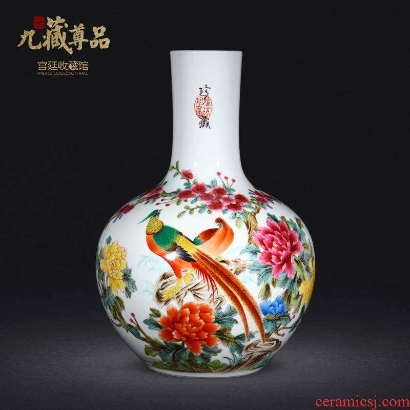 Jingdezhen ceramics vase hand - made pastel brocade prosperous sitting room of Chinese style household adornment gift porcelain collection