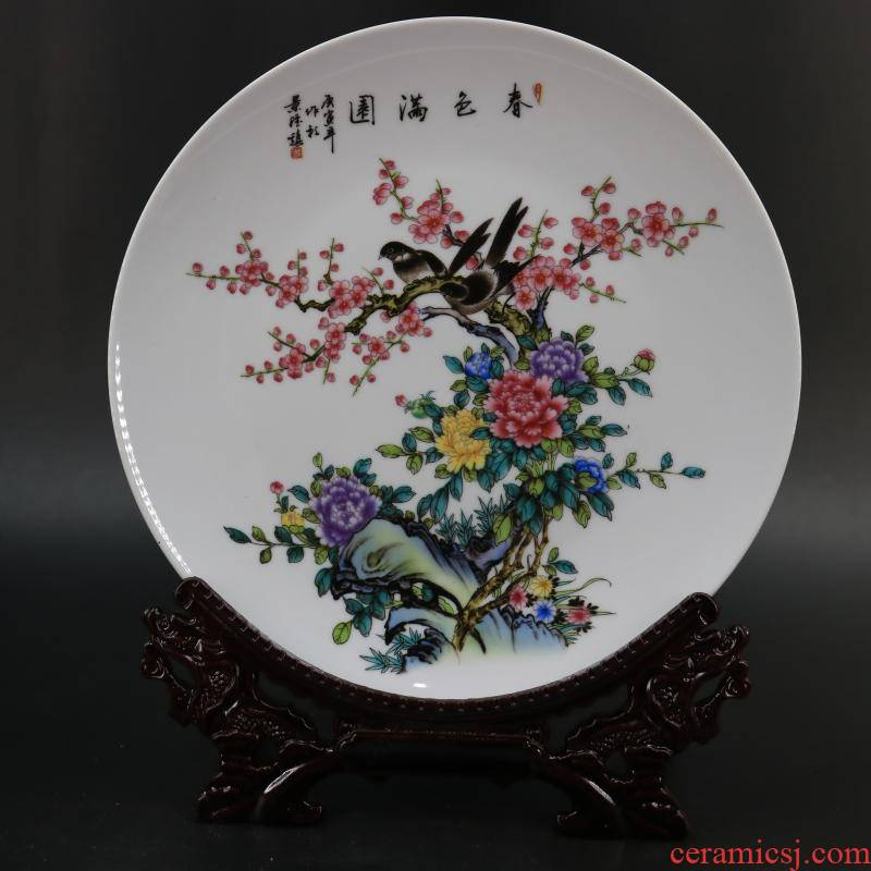 Archaize of jingdezhen porcelain the qing qianlong model of spring scenery garden figure porcelain plate of restoring ancient ways household adornment furnishing articles