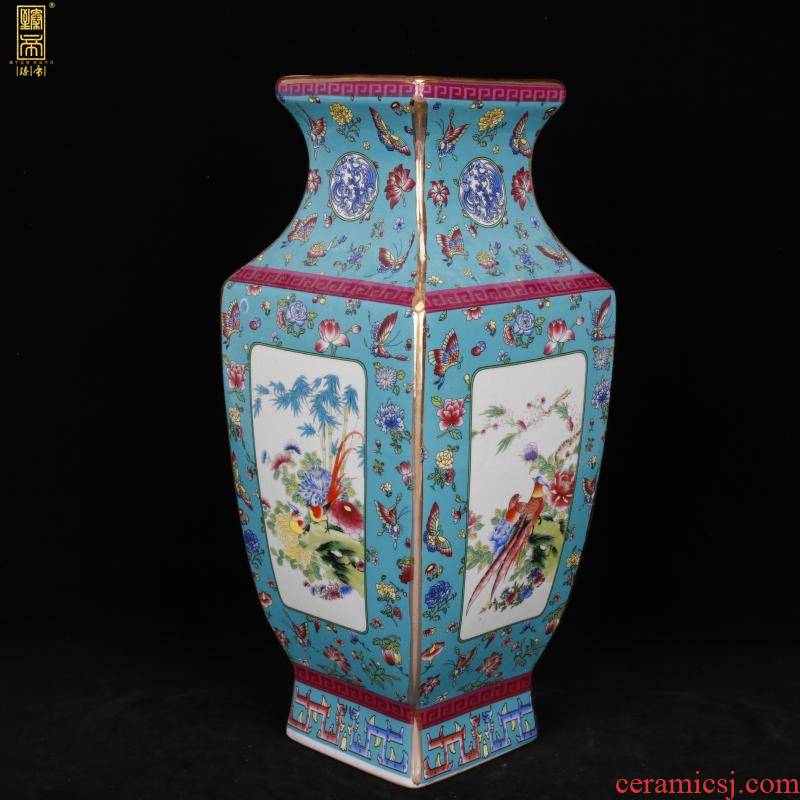 Jingdezhen imitation qianlong blue birds and flowers to sifang colored enamel vase of sitting room adornment of new Chinese style antique antique furnishing articles
