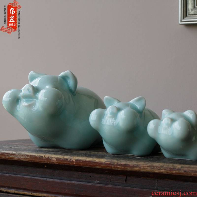 Jingdezhen ceramic furnishing articles manually shadow blue lovely pig cow animal home sitting room adornment porch desktop furnishing articles