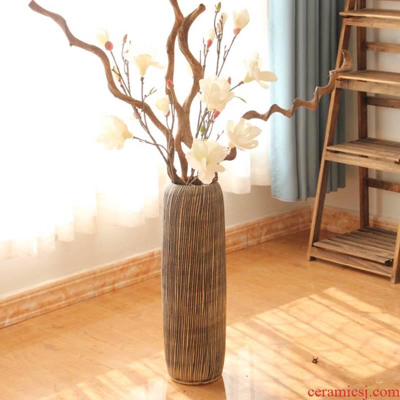 Jingdezhen ceramics dry flower vases, flower receptacle landing Chinese style restoring ancient ways of modern European fashionable sitting room furnishing articles