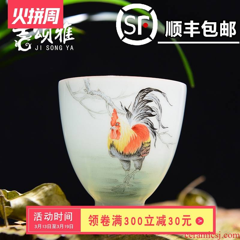 Jingdezhen ceramic hand - made rooster CPU heat - resistant cup personal kung fu tea cups new see colour master cup sample tea cup tea sets