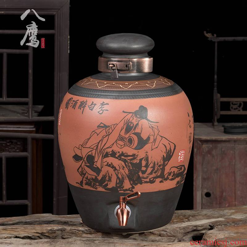 Jingdezhen ceramic jars it 10 jins 20 jins 30 jins of 50 kg sealed archaize home wine mercifully wine jar