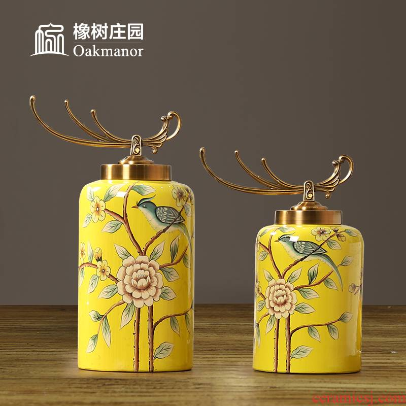 European ceramic decoration tank storage tank with cover furnishing articles light decorations American key-2 luxury high - grade general pot of new Chinese style
