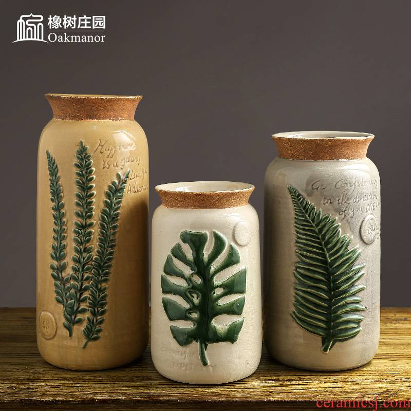 The Nordic idea ceramic vase of flowers, flower arrangement sitting room small place American retro literary table dry flower decoration