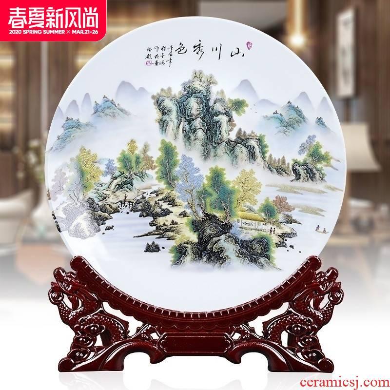 14 inch ceramics disc hanging dish decorative plate sat dish plate decoration creative home TV ark, handicraft furnishing articles