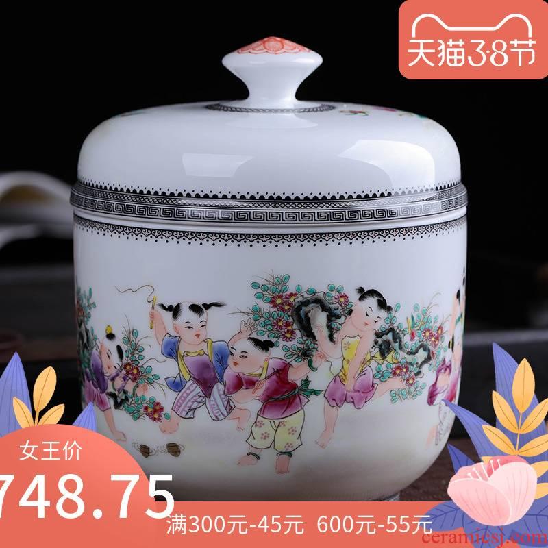 The ancient philosophers graph caddy fixings of jingdezhen ceramics large storage tank receives tea tea set household restoring ancient ways
