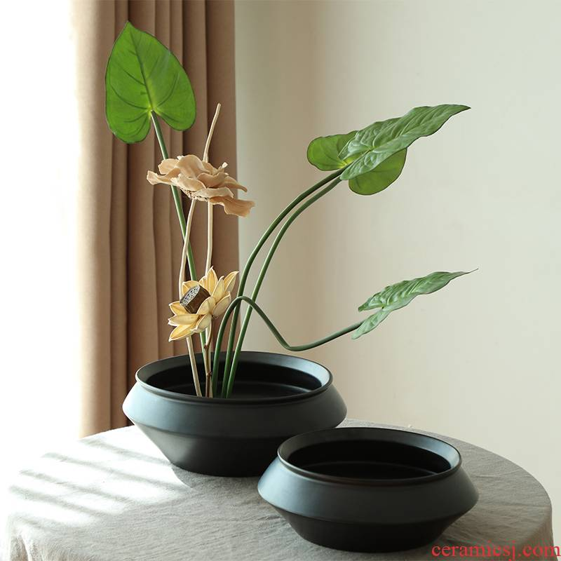 Chinese zen floral outraged black ceramic flower pot sitting room porch hotel villa clubhouse soft outfit vase jian mountain flower