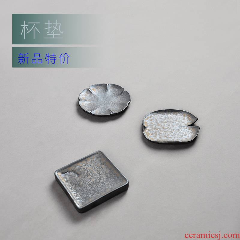 Wynn hui ceramic cups supporting up coarse pottery glaze creative kung fu tea cup pad metal tea tea taking of spare parts