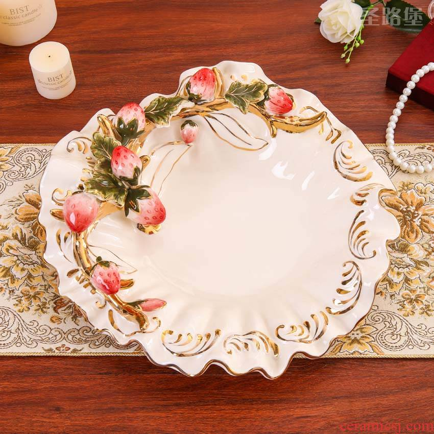Fort SAN road creative fashion European ceramic fruit bowl creative I sitting room home compote dry fruit tray package mail