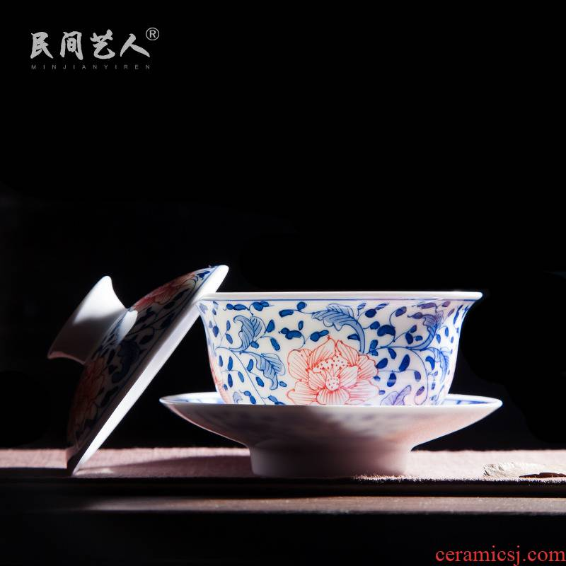 Jingdezhen ceramic hand - made porcelain youligong red peony tureen manual worship tureen tea bowl three cups to use