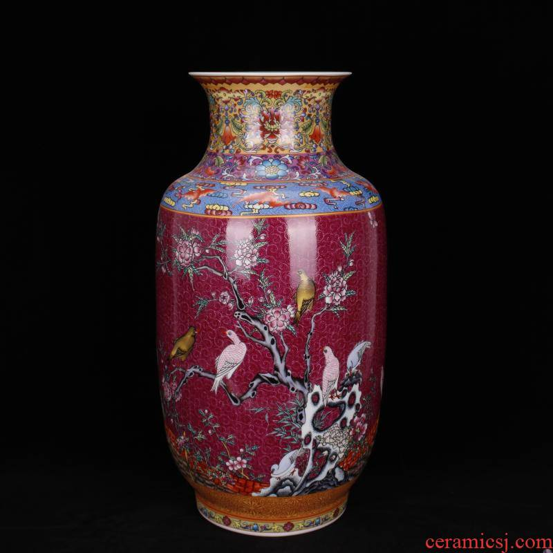 Jingdezhen imitation qianlong colored enamel painting of flowers and idea for gourd vase vases, antique Chinese antique living room a study place