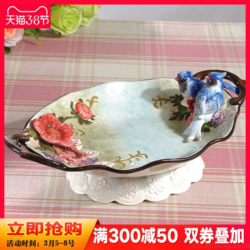 The magpies Chinese fruit bowl sitting room tea table creative ceramic fruit bowl place bridal wedding wedding gift ornament