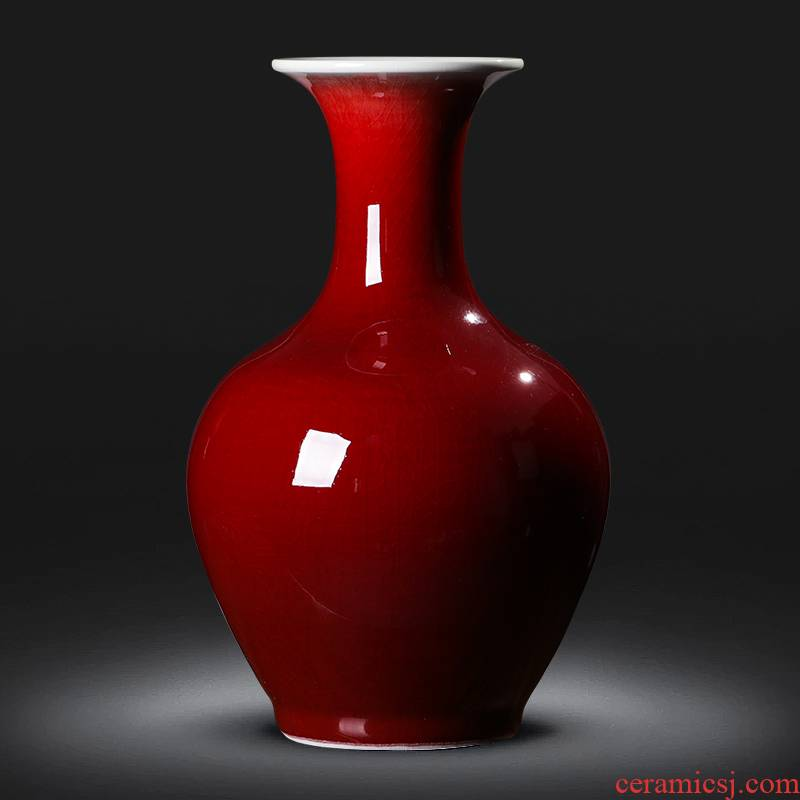 Jingdezhen ceramics ruby red vase flower arranging place new sitting room adornment cabinet decoration of Chinese style household porcelain
