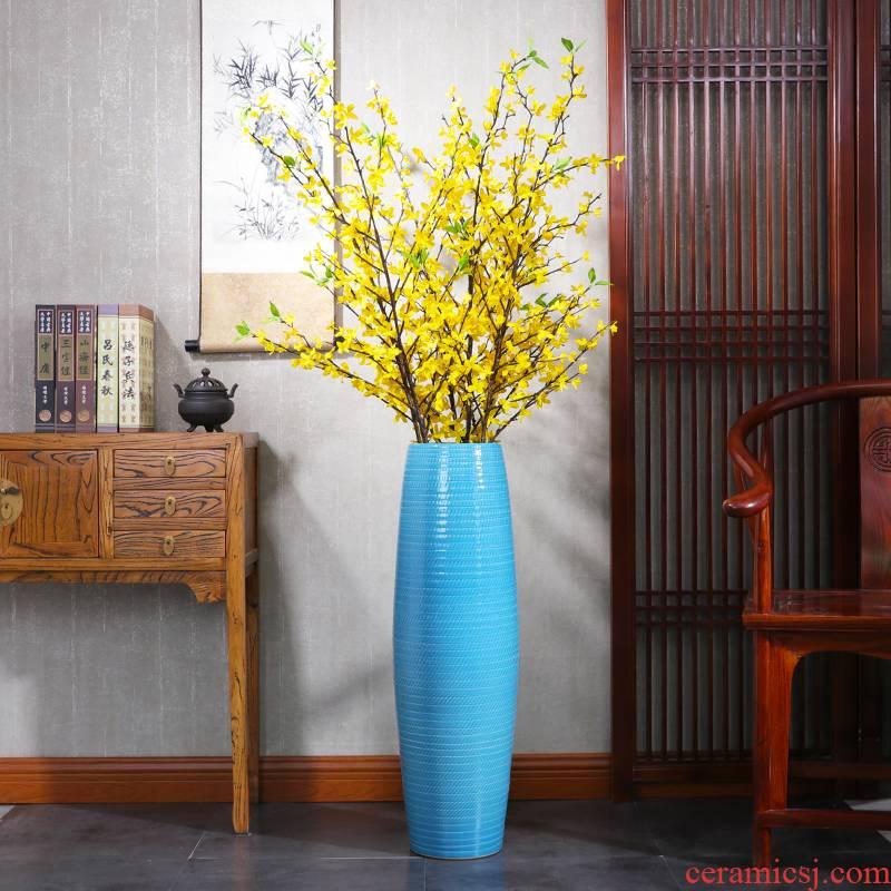 Chinese ceramic vase large blue porcelain landing large villa hotel home sitting room porch decoration furnishing articles