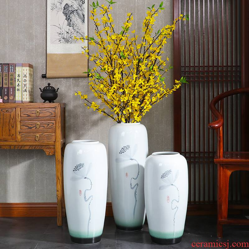 New Chinese style of jingdezhen ceramics of large vase household TV ark, porch flower arrangement sitting room adornment is placed