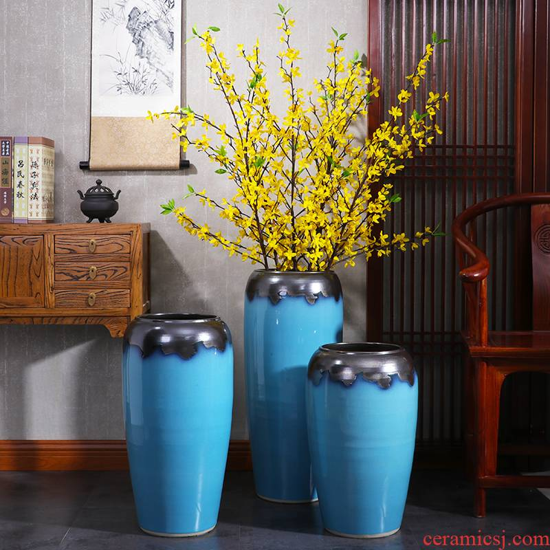 Large ceramic vase furnishing articles porch dried flower arranging flowers sitting room hotel villa decoration European contracted creative decorations