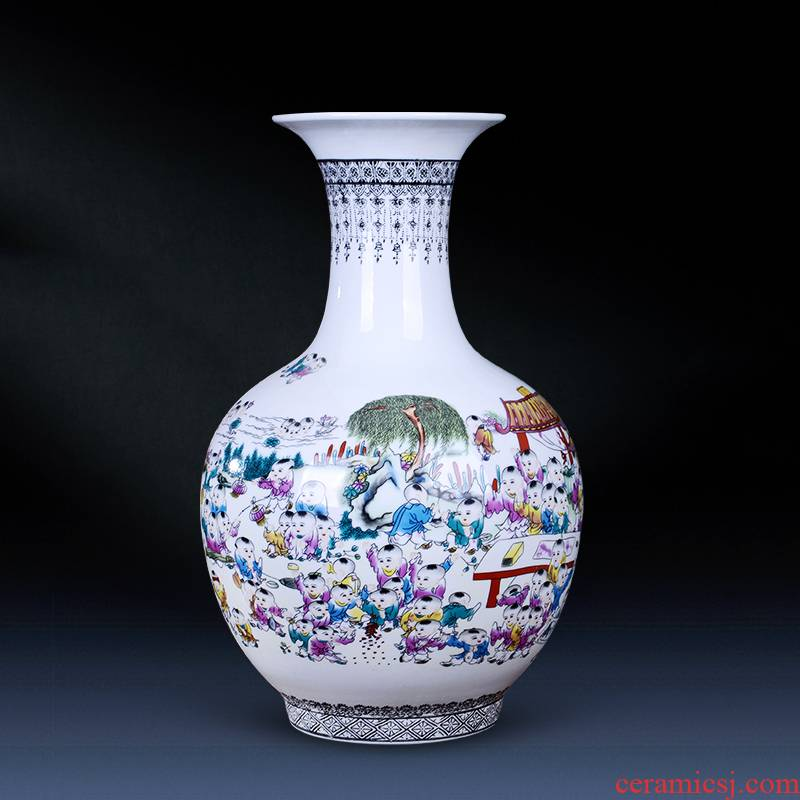 Jingdezhen ceramics powder enamel the ancient philosophers figure vase flowers in modern home decoration of Chinese style living room handicraft furnishing articles