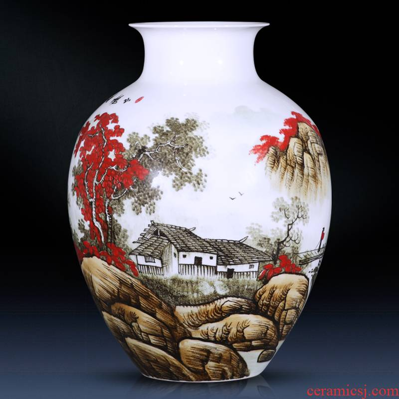The Master of jingdezhen ceramic vase hand - made the mountain somebody else China modern Chinese style household decoration decoration TV ark
