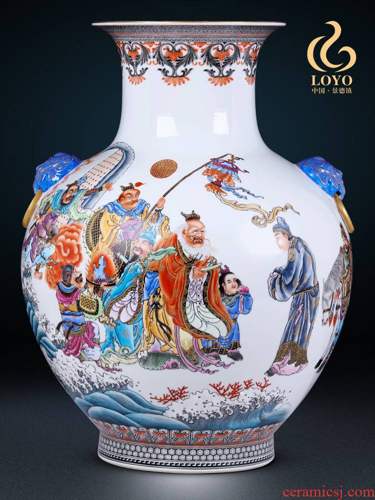 Jingdezhen ceramics vase imitation the qing qianlong enamel paint life of binaural statute of Chinese style household furnishing articles offered the dragon king