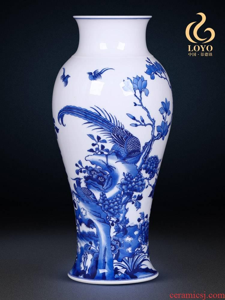 Jingdezhen ceramics vase imitation the qing emperor kangxi golden pheasant tail bottles of Chinese style household adornment TV ark, furnishing articles