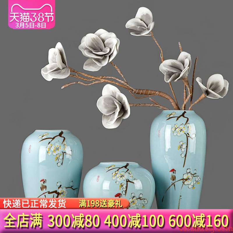Modern new Chinese style three - piece furnishing articles of jingdezhen ceramics, vases, flower arranging zen sitting room porch decoration